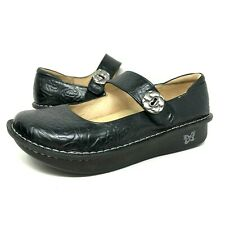 Alegria PAL-531 Paloma Mary Janes Flat Black Rose Leather Shoes Womens Size 42