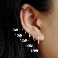 925 Sterling Silber Hoop Ohrringe Kreis Runde Ohrstecker für Frauen Männer Trend