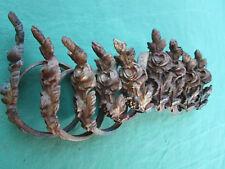 9 anneaux laiton massif décor fleurs ancien tringle rideau D. 5,2 à 5,4 cm