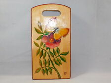 Vintage Russian Painted Cutting Decorative Board Butterfly Rose Flower signed