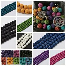 Lava beads 8mm round coloured anxiety gemstone calming chakra bead strand