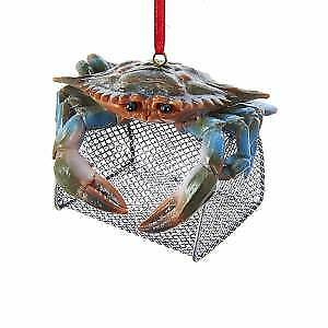 Blue Crab With Wire Cage Ornament w