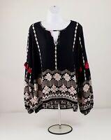 Very J Black Pink Multi-Print Long Sleeve Peasant Style Top Womens Plus Sz 1X