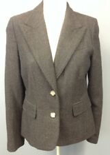 JUICY COUTURE Charcoal Gray Chevron Wool 2 Button Lined Blazer Sz L EE9354