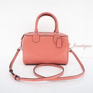 NWT Coach F32202 Mini Bennett Satchel Handbag Crossbody Purse Leather Coral $298