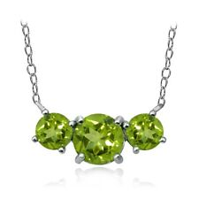 Sterling Silver Peridot Three Stone Necklace