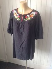 Ladies Embroidered Cotton Tunic Top Boho Hippy Summer Beach Sz UK 12 By GEORGE