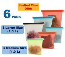 Silicone Food Storage Reusable Bags - 6 Pack (3 Large & 3 Medium)
