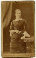 Teenage Girl holding Photo Vintage CDV by Lennan, Greenock Scotland UK
