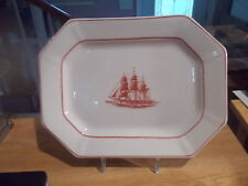 "11"" WEDGWOOD Flying Cloud Oval Serving Platter - Rust Ship In Center"