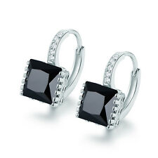 Mystery Square Black Crystal Silver White Gold Filled Zircon Women Lady Earrings
