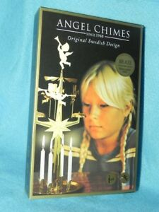 Angel Chimes, Brass, Original Swedish Christmas Design, Includes 4 Candles, NEW