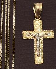 14K Yellow White Gold Jesus Crucifix Cross Small Charm Pendant Box Chain 20 inch