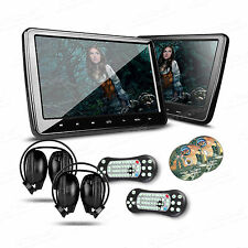 "2x 10"" Auto DVD Player Kopfstütze HD Monitor Touch-Button HDMI USB +2 Kopfhörer"