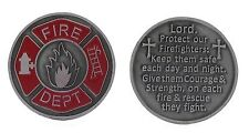 Firefighter Prayer Pocket Coin Red Pewter (Set of 2 Coins)