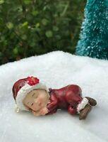 Miniature FAIRY GARDEN ~  Mini Winter CHRISTMAS Sleeping Baby in Santa Suit