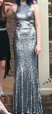 Gorgeous EDGY Silver Sequin Mermaid Prom Dress 4 Cut Outs Camille La Vie STUNNER