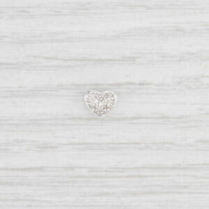 New Small Pave Diamond Heart Floating Charm 10k White Gold Pendant