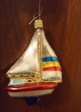 Old World Christmas Ornament Sailboat Glass Blown Ornaments for Christmas Tree