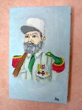 Petite toile peinture acrylique, 22 x 14 cm, Pionnier Légion étrangère médailles