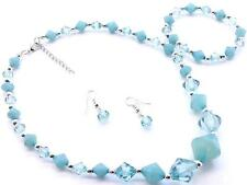 BLUE ACRYLIC FACET BEAD SILVER TONE BEAD GRADUAL NECKLACE EARRING AND BRACELET