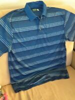 Ben Hogan Performance Golf Polo Mens Shirt Large Blue Striped Short Sleeve