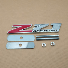 Red & Silver  Z71 OFF ROAD Logo Front Grille Metal Car Badge Emblem Accessories