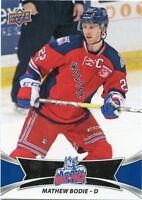 16/17 UPPER DECK AHL #20 MATHEW BODIE HARTFORD WOLF PACK *30941