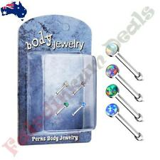 316L Surgical Steel Nose Bone Stud Ring with Opal Set Flat Top 4 Pack