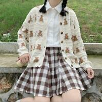 Womens Fashion Cute Japanese Style Lolita Bear Knitted Sweater Cardigan Coat SKG