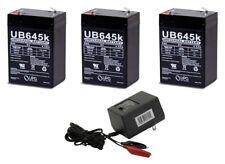 3 UB645 PS640 6 Volt 4.5ah Battery and 6v-12v Dual Charger Mojo Game Deer lights