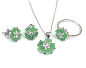 925 Sterling Silver 5x3 mm Natural Emerald Ring Earring Necklace Jewelry Set