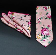 Tie Neck tie with Handkerchief Slim Dusty Pink Floral Quality Cotton MTA11