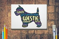 More details for westie dog word art canvas a4 a3 a2a1 mothers day gift personalised option