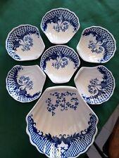 tazas para aperitivos/ postre porcelana ,blanco/azul