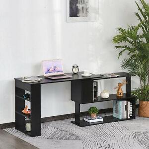360° Rotating Corner Desk L-Shaped Study Writing Table Storage Shelf Black