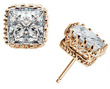 (JW030) Yellow Gold-Plated 7mm Square Cubic Zirconia Crown Earrings