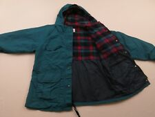 Vintage REI MensGreen Hooded Waterproof Rain Jacket Sz M Plaid Lined Coat Parka