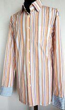 "TOMMY HILFIGER 'Eddie' Men Long Sleeve Shirt Striped Multi-Color 44 17.5 XL 25"""