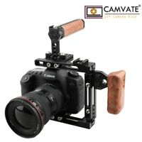CAMVATE Adjustable Camera Cage Wooden Grip Top Handle Rig for Canon Sony Nikon