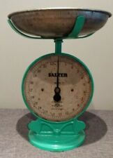 Vintage Cast Iron Salter Kitchen Scales No 50. Green with Original Pan (22lb)