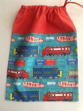 Fabric bag Trains print drawstring shoes nappies toys Gift present Boy