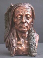 Bronze Bust American Indian Sculpture Western