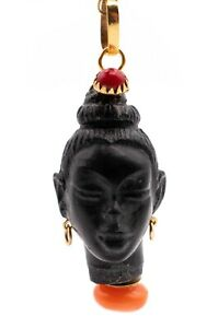 CORLETTO BLACKAMOOR ITALIAN 18 KT GOLD CARVED EBONY HEAD WITH RED CORAL