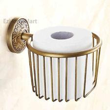 Antique Brass Toilet Paper Holder Wall Mount Bathroom Tissue Storage Basket