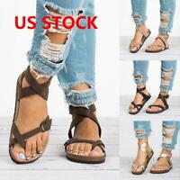 Womens Cork Sole Sandals Flip Flop Casual Straps T-Strap Thong Flat Shoes Newest