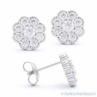 Cubic Zirconia CZ Crystal Flower Stud Earrings in 925 Sterling Silver w/ Rhodium