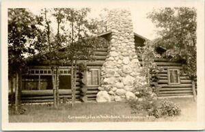 "ROSCOMMON, Michigan RPPC Real Photo Postcard ""Curwood's Lodge on the Au Sable"""