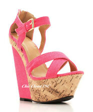 Women High Heels Platform Color Ankle Straps Canvas Open Toe Wedge Sandals