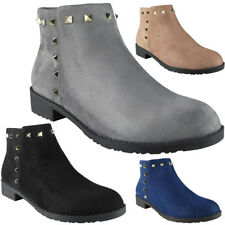 Womens Ladies Studded Low Heel Casual Work Chelsea Ankle Boots Flat Shoes Size